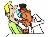 Dentista examinándo