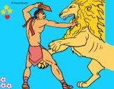 Dibujo Gladiador contra león pintado por LunaLunita