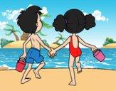 Dibujo Niña y niño en la playa pintado por SinaiV