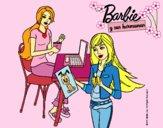 Dibujo Barbie y su hermana merendando pintado por LunaLunita