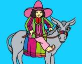 Dibujo Indio montado en burro pintado por LunaLunita