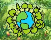 Dibujo Planeta tierra con árboles pintado por BFFLOVE
