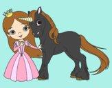 Dibujo Princesa y unicornio pintado por mdifranco