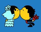Beso de recién casados