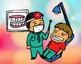 Dibujo Dentista con paciente pintado por AitanaPR