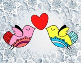 Dibujo Pájaros con corazón pintado por LUCIARC