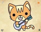Dibujo Gato guitarrista pintado por ajjajjajaj