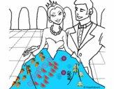 Princesa y príncipe en el baile