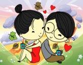 Dos jóvenes enamorados
