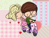 Enamorados en moto