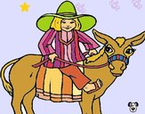 Indio montado en burro