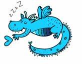Dibujo Dragón infantil durmiendo pintado por Laisai
