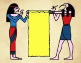 Dibujo Cleopatra y Thot pintado por ANTOI