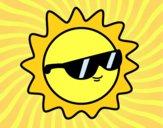 Dibujo Sol con gafas pintado por windy