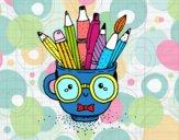Taza animada con lápices