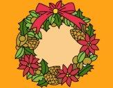 Corona de flores navideña