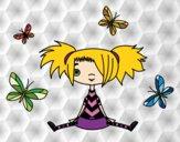 Niña con mariposas