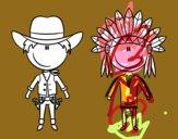 Vaquero e indio contentos