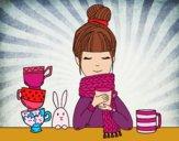 Dibujo Chica con bufanda y taza de té pintado por edymhar