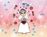 Novia con flores