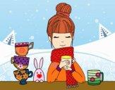Dibujo Chica con bufanda y taza de té pintado por natinatash