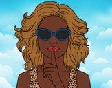 Dibujo Chica con gafas de sol pintado por FeliPretty