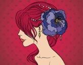 Dibujo Tocado  de novia con flor  pintado por Anabella81