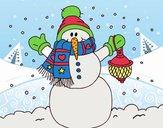 Un muñeco de nieve navideño
