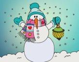 Dibujo Un muñeco de nieve navideño pintado por Ramon45