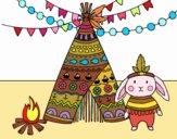 Dibujo Conejo indio pintado por ceninsa