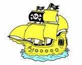 Dibujo Barco pirata pintado por bebuspe