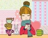 Dibujo Chica con bufanda y taza de té pintado por Ramon45