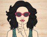 Dibujo Chica con gafas de sol pintado por Picasa