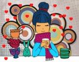 Dibujo Chica con bufanda y taza de té pintado por DALAS
