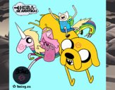 Jake, Finn, la princesa Chicle y Lady Arco Iris