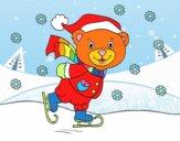 Osito patinando navideño
