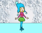 Patinadora sobre hielo con gorro