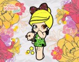 Niña Kawaii con un helado