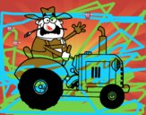 Granjero en su tractor
