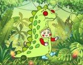 Niño disfrazado de dinosaurio