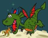 Dragón echando fuego