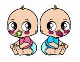 Dibujo Bebés gemelos pintado por Francesita