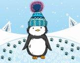 Pingüino con gorro de invierno