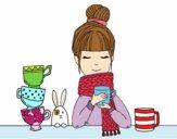 Dibujo Chica con bufanda y taza de té pintado por AmandaP_25