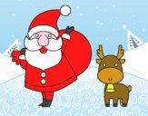 Papá Noel y un reno