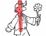 Hombre contento con una flor