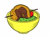 Brocheta de carne con arroz