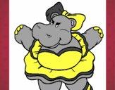 Hipopótama con lazo
