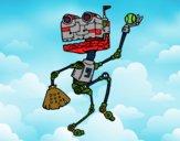 Robot jugando al béisbol
