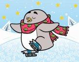 Pingüino patinando sobre hielo